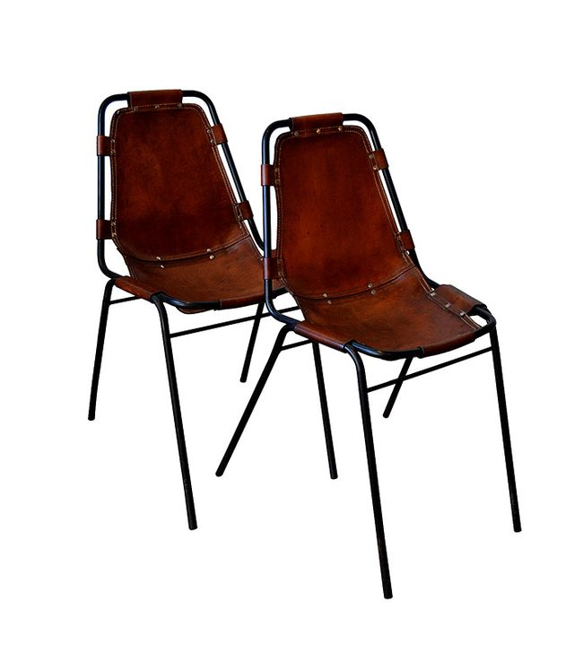 Charlotte Perriand Les Arcs Metal and Leather Side Chairs