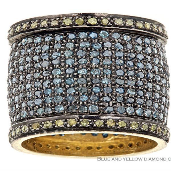 Rona Pfeiffer Blue and Yellow Diamond Cigar Band Ring