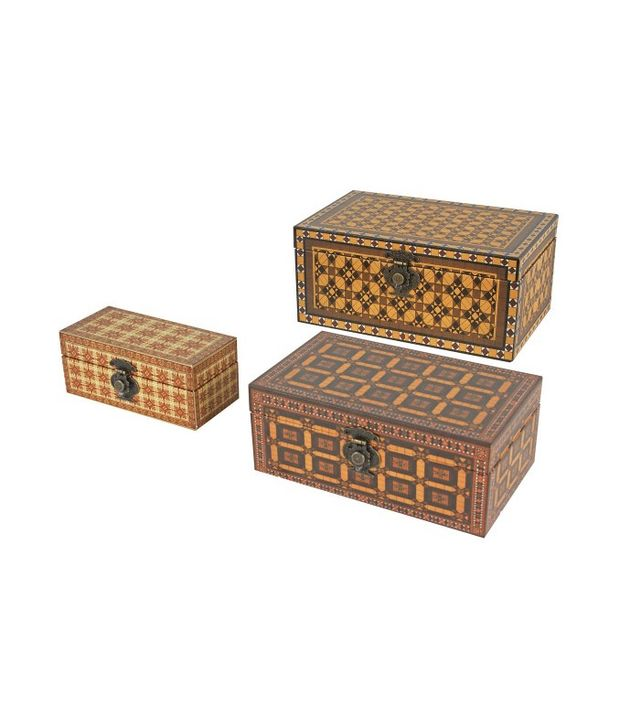 High Fashion Home Set of 3 Decorative Boxes