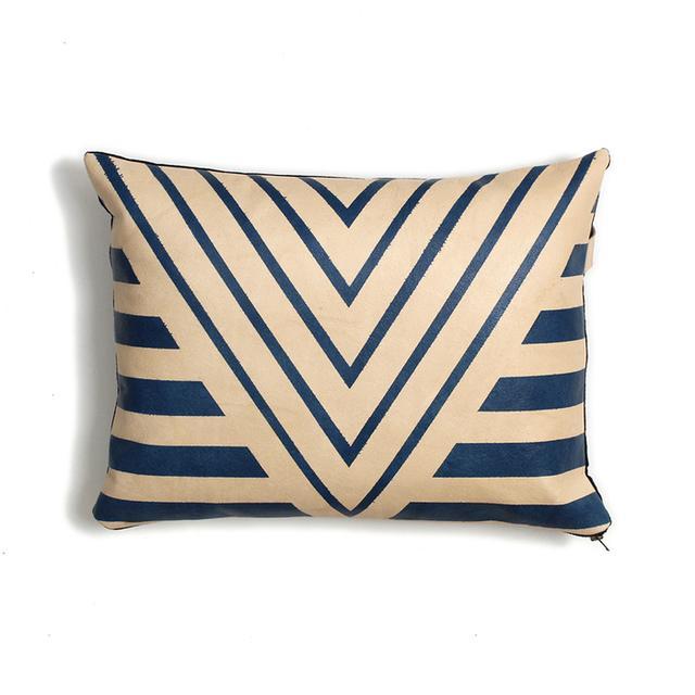 AVO Painted Plains Blue Geometric Leather Pillow