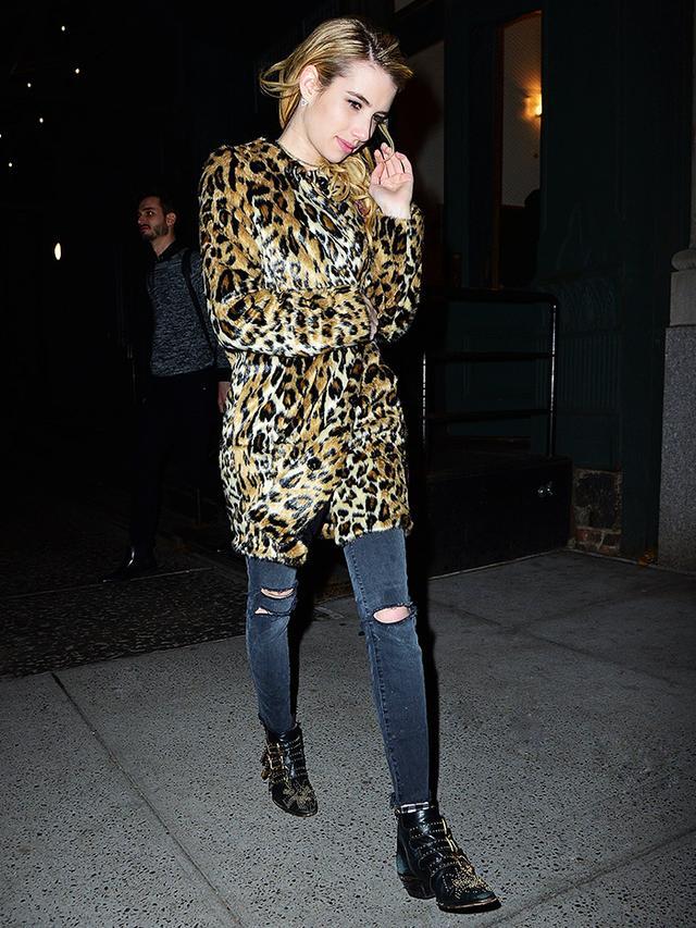 Emma Roberts leopard coat