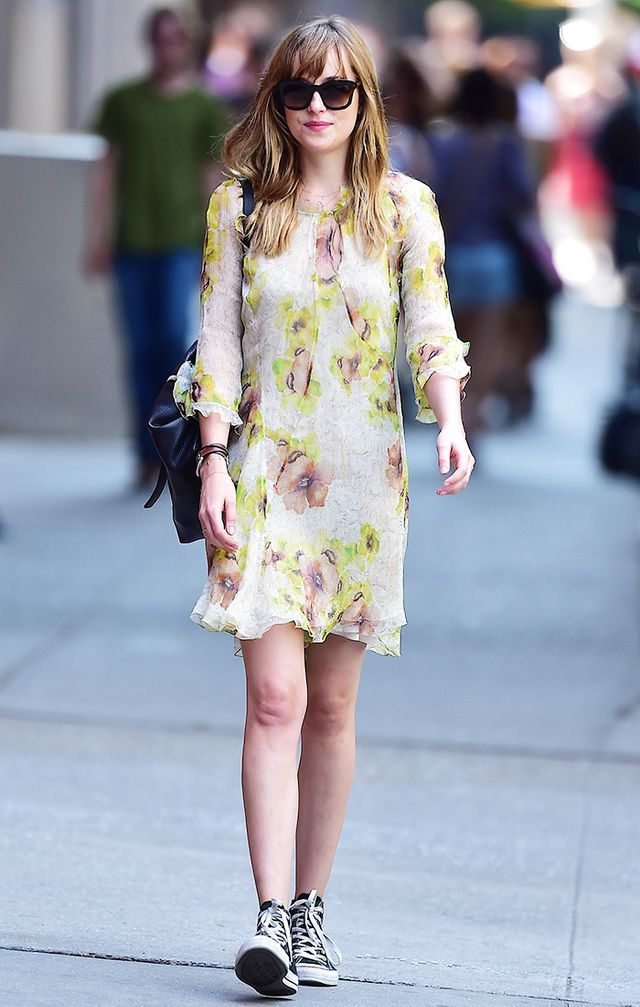 Dakota Johnson dress and sneakers