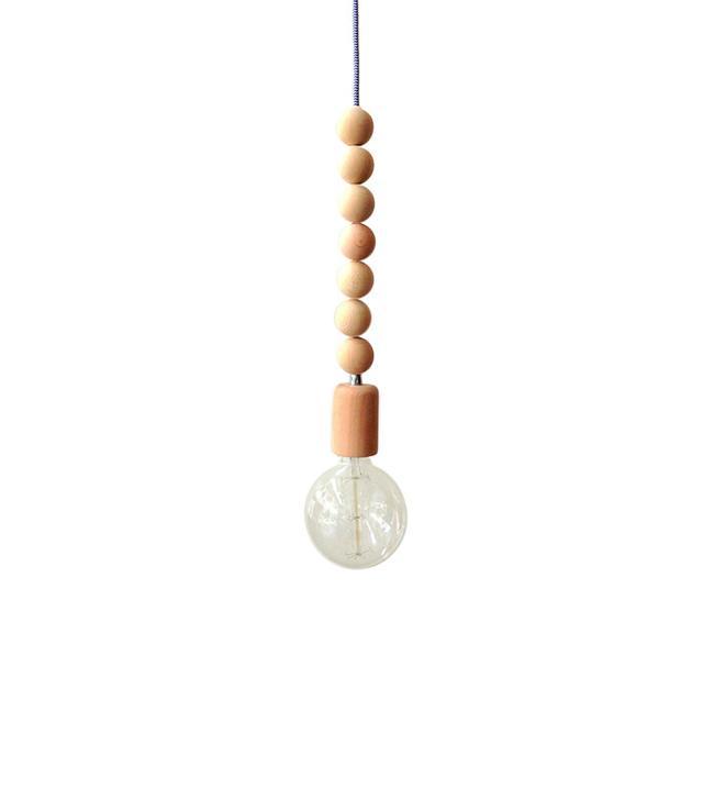 Light Cookie Wood Bead Handmade Pendant Light