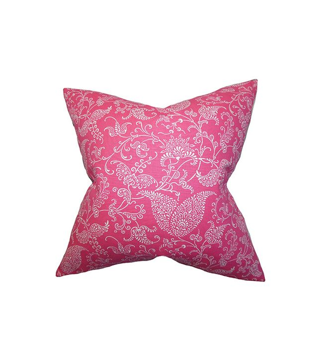 The Pillow Collection Aderyn Paisley Pillow White Pink