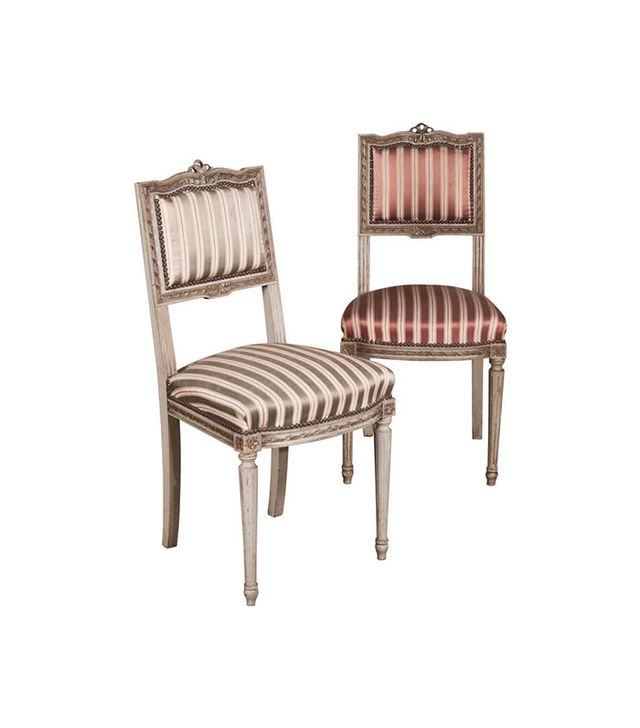 Inessa Stewart's Antiques & Interiors Pair of Antique French Louis XVI Painted Chairs