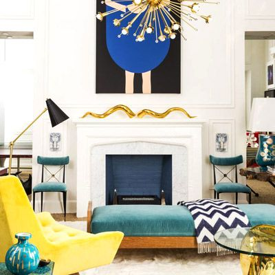 Get the Look: A Gilded, Jewel-Tone Midcentury Living Room