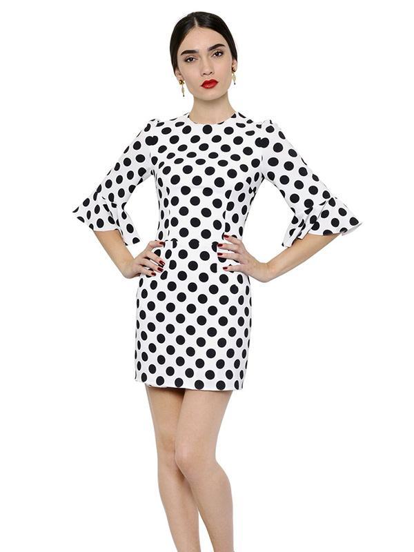 Dolce & Gabbana Polka Dot Printed Viscose Cady Dress