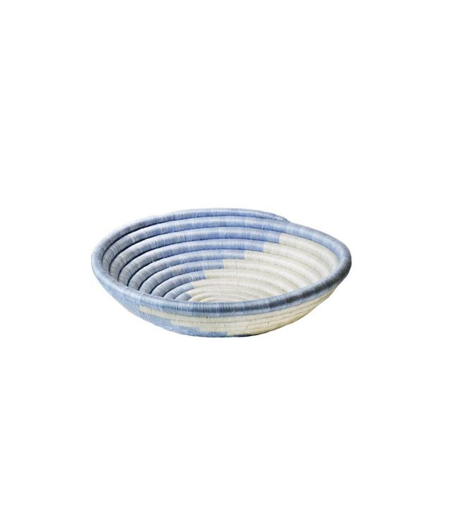 Indego Africa Icy Blue Swirl Plateau Basket
