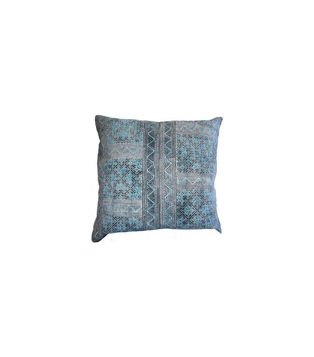 Chairish Hmong Batik Pillow in Turquoise