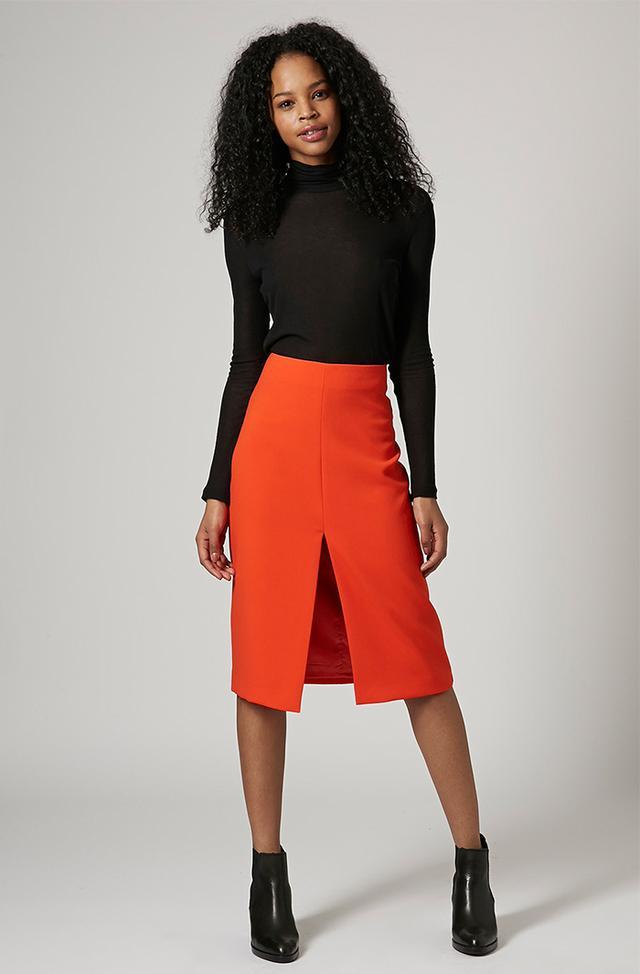 Topshop Crepe Split Pencil Skirt