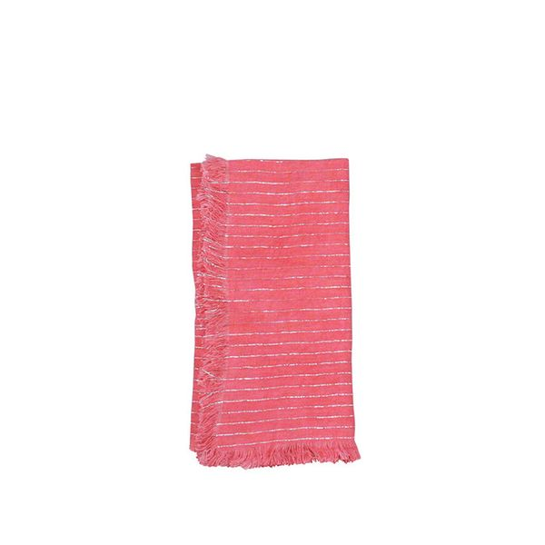 Canvas Home Fringed Edge Linen Napkin with Metallic Stripes