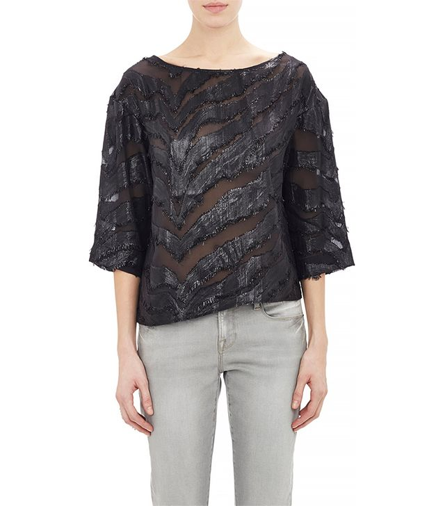 Iro Animal-Pattern Jacquard Top