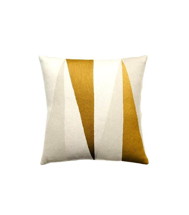Judy Ross Textiles Cream/Oyster/Gold Blade Pillow