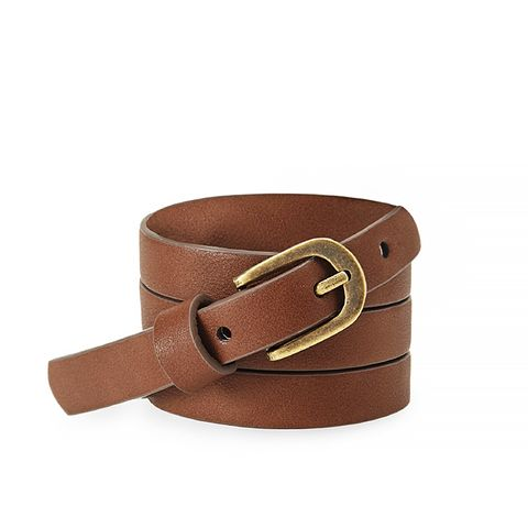 Skinny Burnished-Buckle Faux Leather Belt