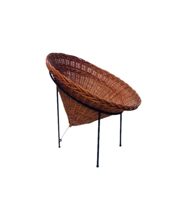 Vintage Modernist Woven Wicker Cone Basket Lounge Chair