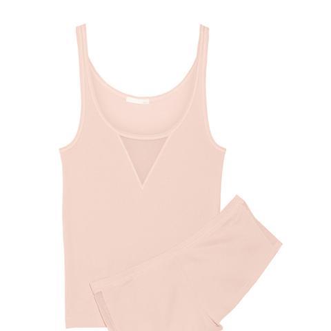Tulle-Trimmed Pima Cotton Pajama Set