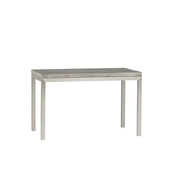 Crate & Barrel Concrete Top/Stainless Steel Base Parsons Dining Table