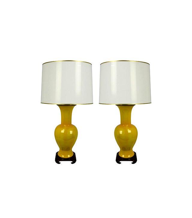 Paul Hanson Yellow Porcelain Urn Lamps
