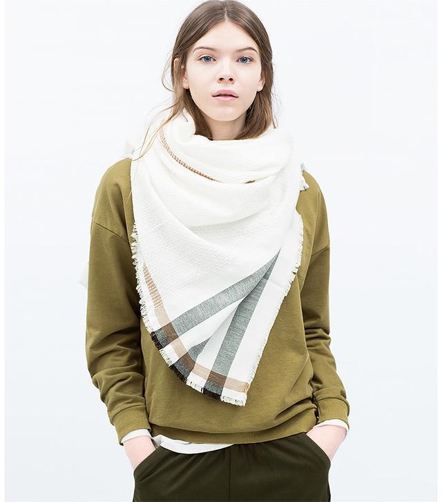 Zara Mixed Plain and Striped Scarf
