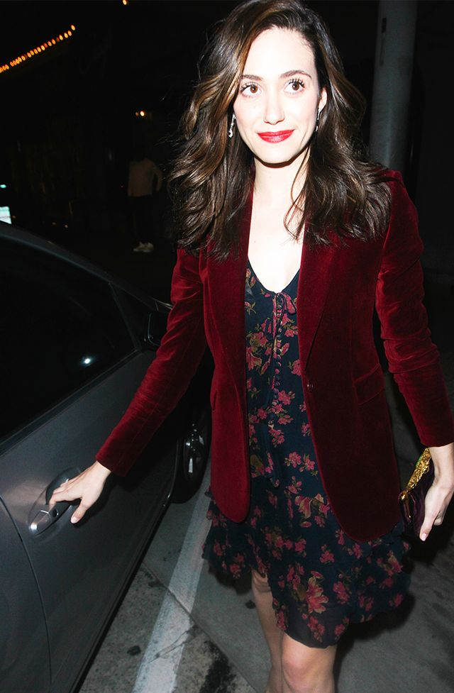 Throw a blazer on over a floral frock to make it instantly evening-appropriate: