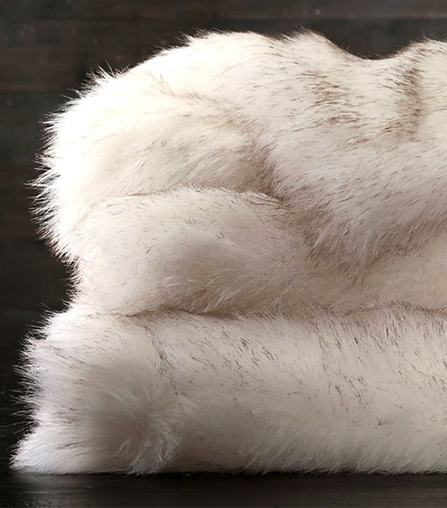 Restoration Hardware Exotic Faux Fur Throw