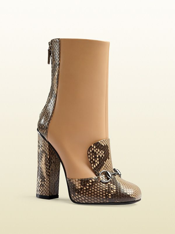 Gucci Python and Leather Horsebit Ankle Boots