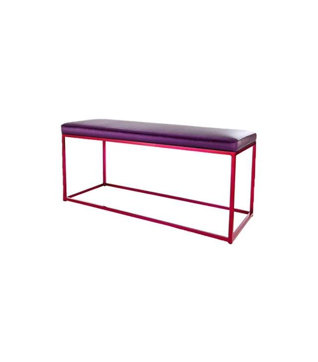 Vintage Red Croma Bench with Purple Cushion