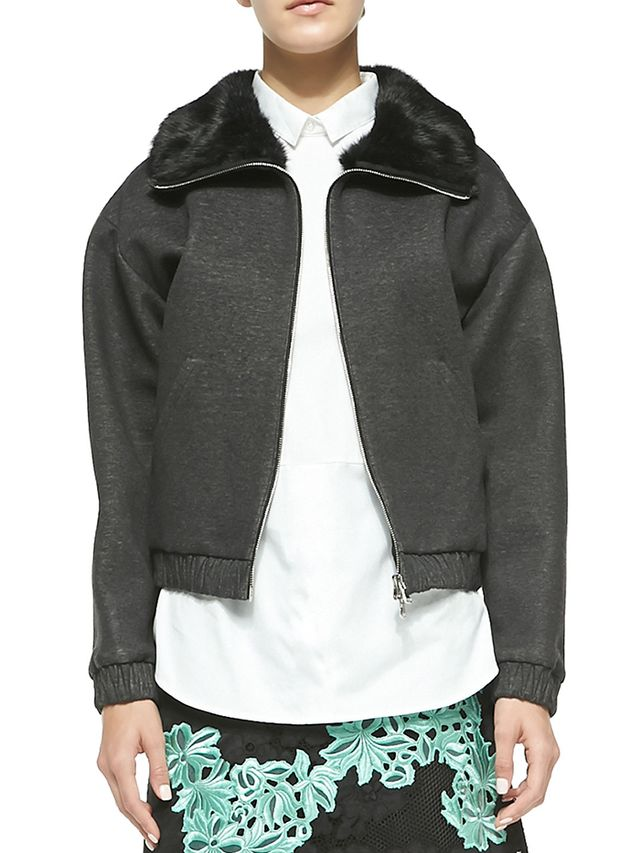 3.1 Phillip Lim Rabbit Fur Collared Jacket