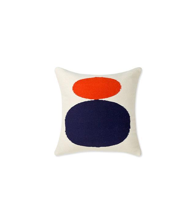 Jonathan Adler Reversible Navy And Red Orange Mother Child Pop Throw Pillow