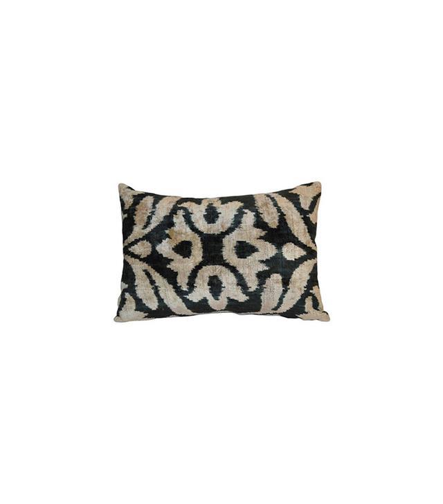 One Kings Lane Silk 16x24 Pillow, Black/Grey