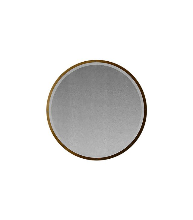 Restoration Hardware Bistro Antiqued Brass Round Mirror