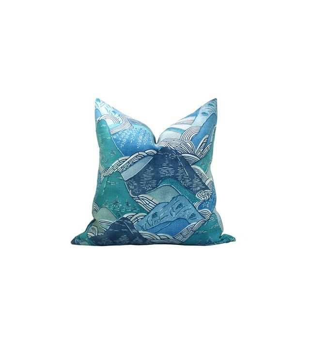 Etsy Kelly Wearstler Edo Linen pillow cover in Teal