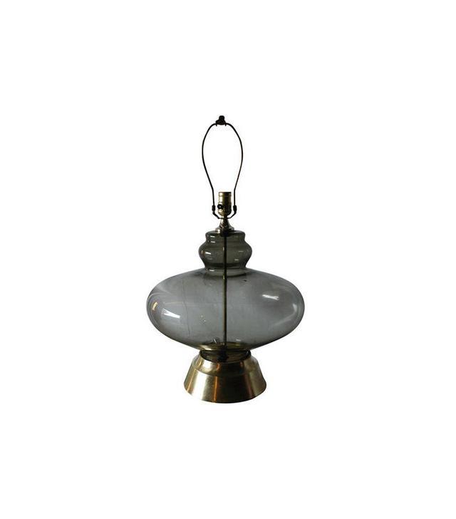Chairish Mid-Century Smoked Glass Globe Lamp