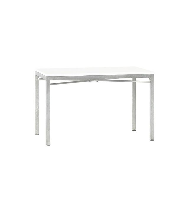 Crate & Barrel White Top/ Zinc X-Base 72x42 Dining Table