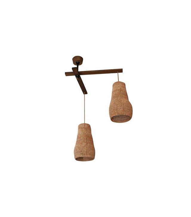 Vintage Two Arm Walnut and Palm Leaf Lamp