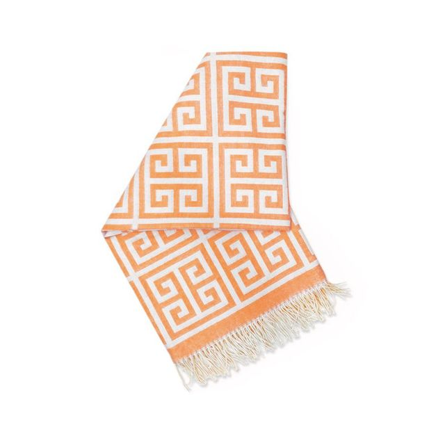 Jonathan Adler Orange Greek Key Alpaca Throw