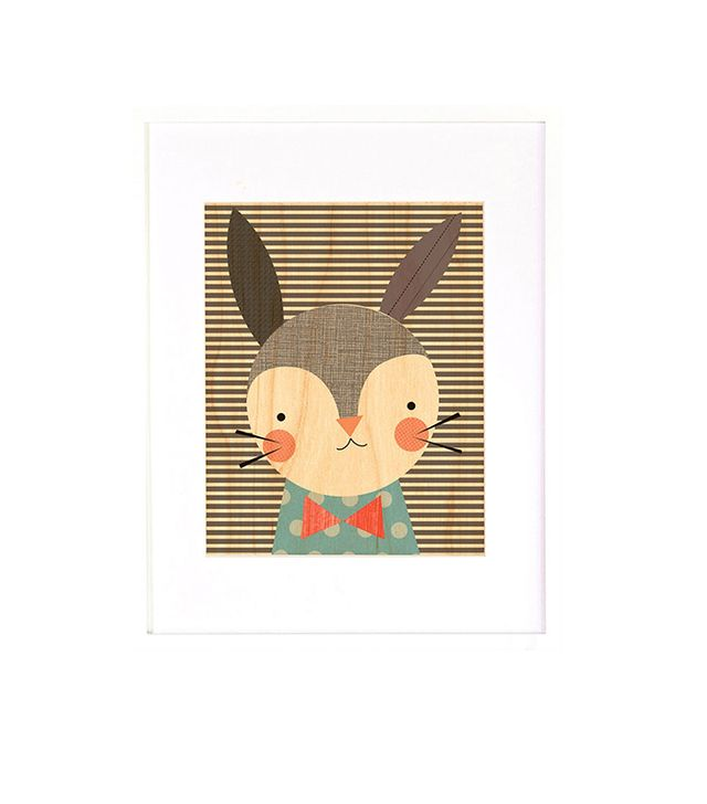 Petit Collage Dapper Rabbit Framed Wall Print