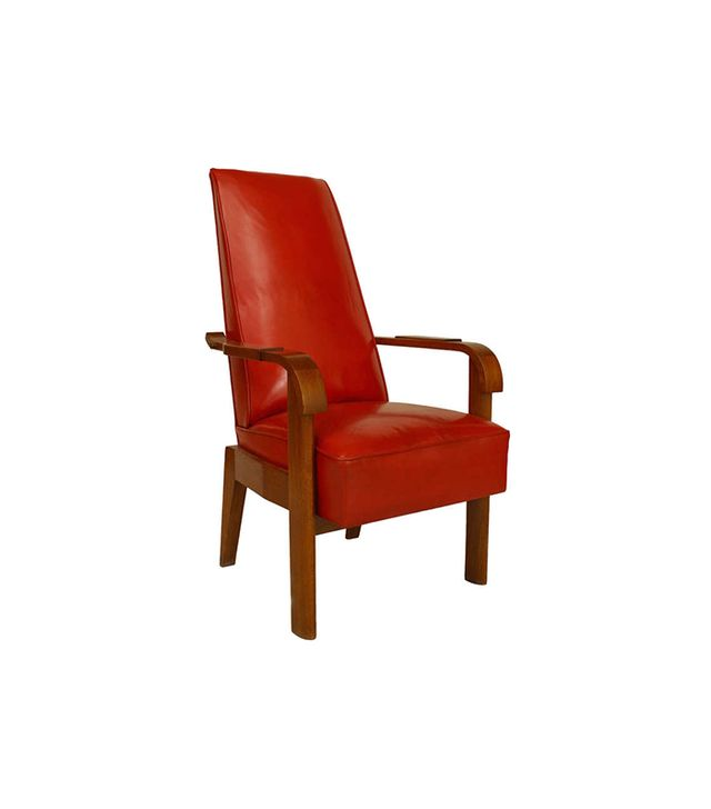 Charles Dudouyt 1940's French Red Leather and Oak Armchair