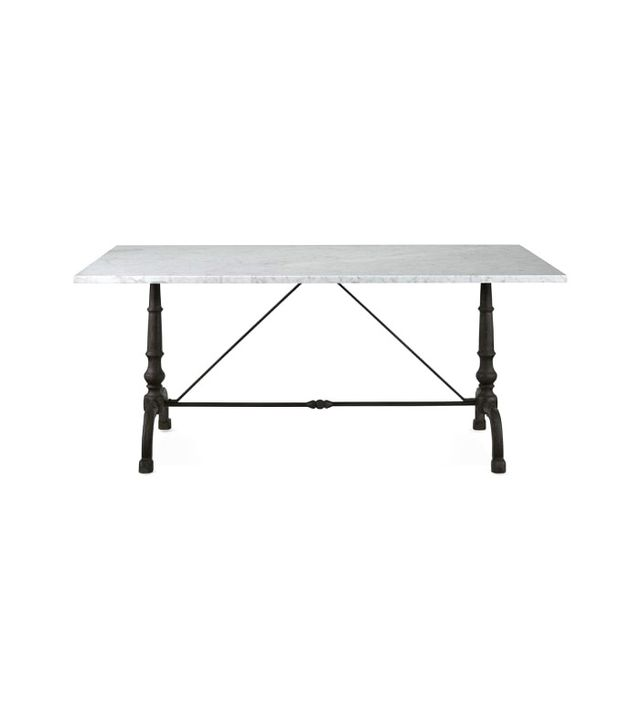 Williams-Sonoma La Coupole Rectangular Iron Bistro Table With Marble Top