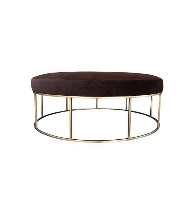 1st Dibs Custom Round Ottoman With Brass Base