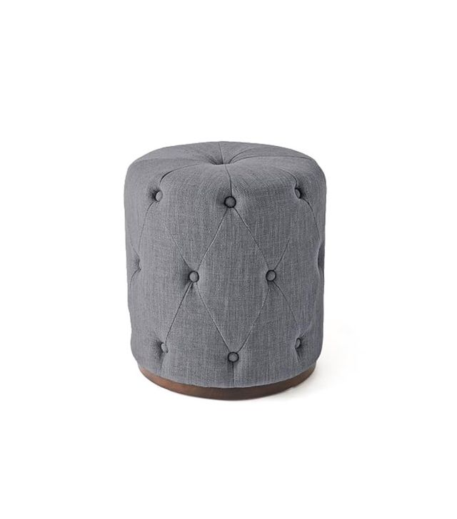 West Elm Upholstered Tufted Round Ottoman