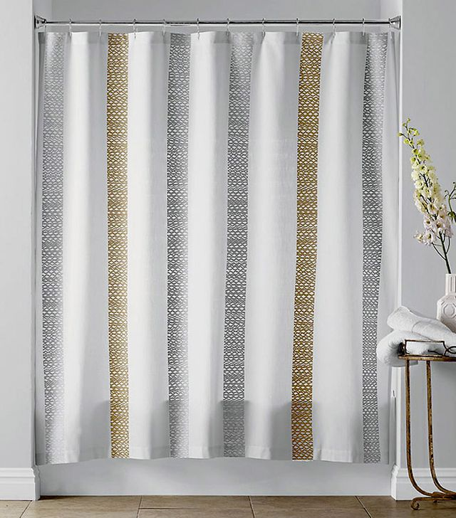 The Company Store Crochet Stripe Shower Curtain