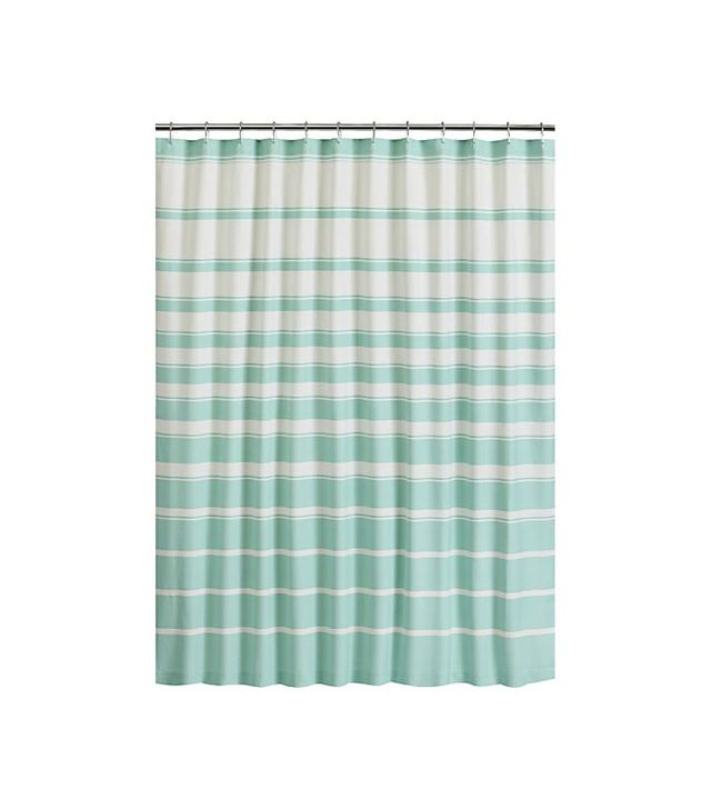 Crate and Barrel Hampton Stripe Seafoam Shower Curtain