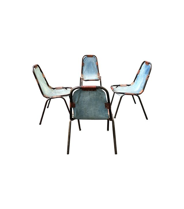 1st Dibs Charlotte Perriand-Style Denim Deck Chairs