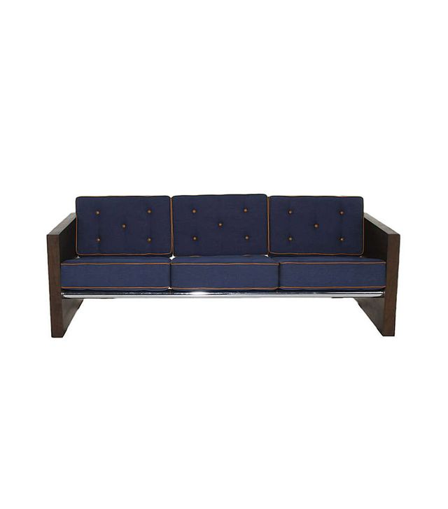 1st Dibs Solid Walnut Sofa Upholstered in Blue Denim with Leather Accents
