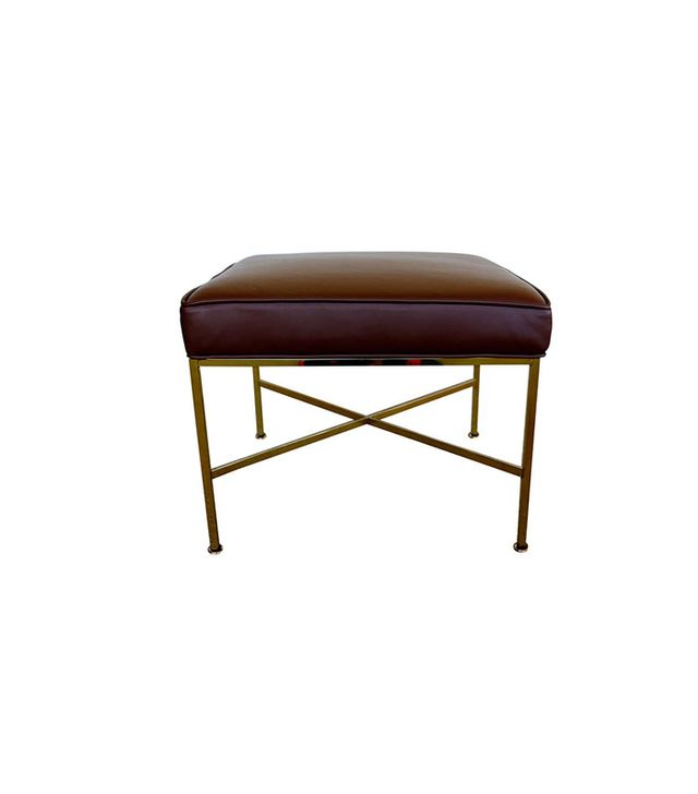 Paul McCobb Brass & Leather Stool