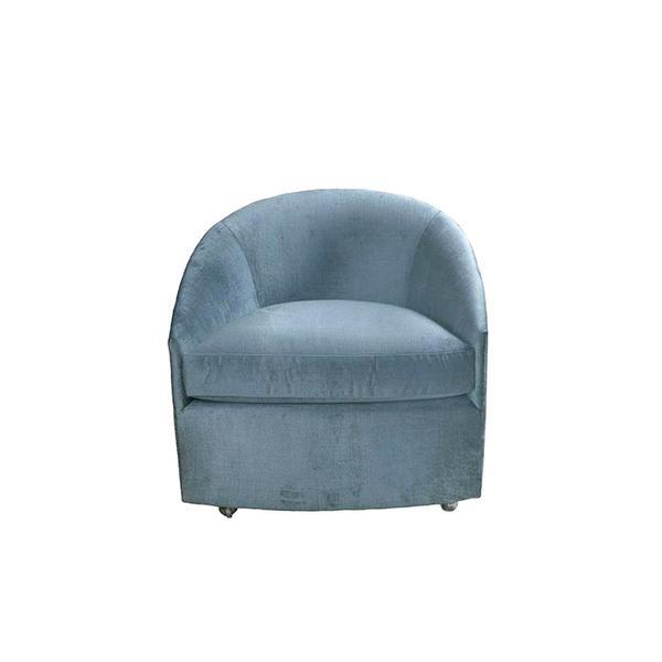 Chairish Milo Baughman Velvet Barrel Chair