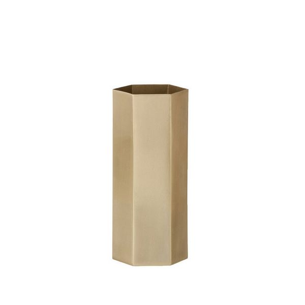 Michele Varian Tall Brass Hexagon Container