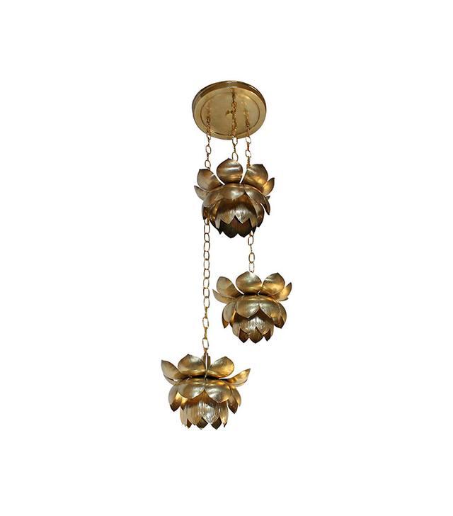 The Feldman Company Three Pendant Light Lotus Brass Chandelier