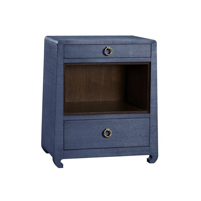 Bungalow 5 Ming Navy Grasscloth Side Table